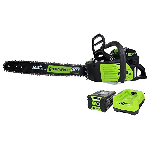 Greenworks Pro 80V 18-Inch Brushless Cordless Chainsaw, 2.0Ah Battery and Rapid...