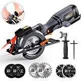 "TACKLIFE Circular Saw with Metal Handle, 6 Blades(4-3/4' & 4-1/2""), Laser Guide,..."