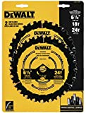 DEWALT DWA1612CMB 6-1/2-Inch 18/24-Tooth Circular Saw Blade, Combo, Pack of 1...