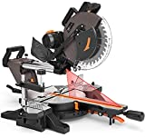 TACKLIFE 12-Inch, 15 AMP Double Sliding Compound Miter Saw, Double-Bevel Cutting...